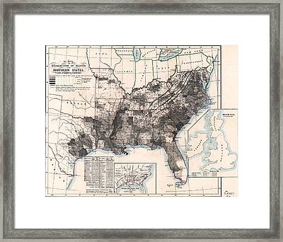 Choropleth Map Of Us Slavery 1860 Framed Print by MotionAge Designs