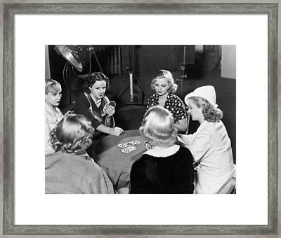 Chorus Girls Playing Hearts Framed Print