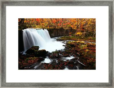 Framed Print featuring the photograph Choushi - Ootaki Waterfall In Autumn by Brad Brizek
