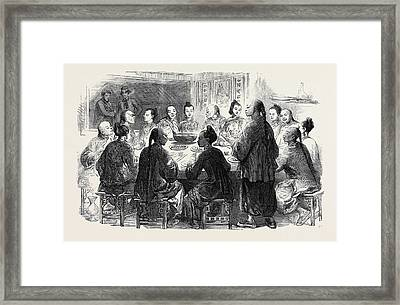 Chow-chow Chinese Supper At Hong Kong Framed Print by English School