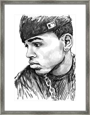 Chris Brown Art Drawing Sketch Portrait Framed Print by Kim Wang
