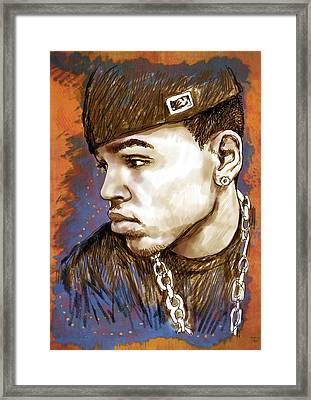 Chris Brown  - Stylised Drawing Art Poster Framed Print by Kim Wang