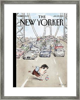 Chris Christie Plays With A Ball On The George Framed Print by Barry Blitt