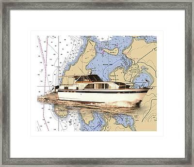 Yacht On A Chart Chris Craft San Juan Islands Chart Framed Print by Jack Pumphrey
