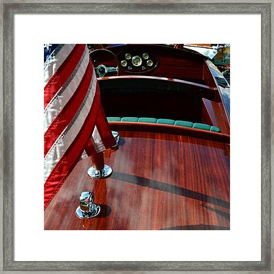 Chris Craft With Flag And Steering Wheel Framed Print by Michelle Calkins