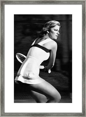 Chris Evert Playing Tennis Framed Print by Stan Malinowski