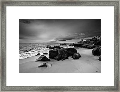 Chris's Rock 2013 Black And White Framed Print by Peter Tellone
