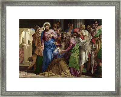 Christ Addressing A Kneeling Woman Framed Print by Paolo Veronese
