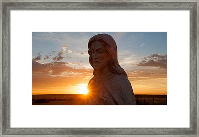 Christ And Sun Framed Print by Shirley Heier