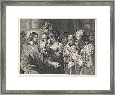 Christ And The Adulteress, Elisabeth Marie Simons Framed Print