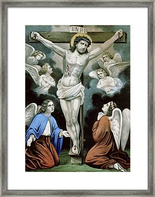 Christ And The Angels Circa 1856 Framed Print by Aged Pixel