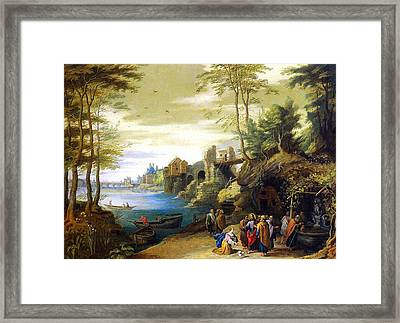 Christ And The Canaanite Woman Framed Print by Jan Brueghel