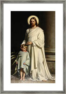 Christ And The Child Framed Print by Carl Bloch