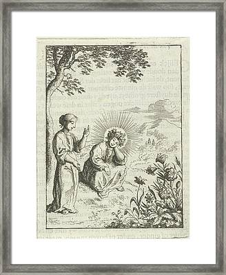 Christ And The Personified Soul Contemplate Nature Framed Print by Jan Luyken And Pieter Arentsz (ii)