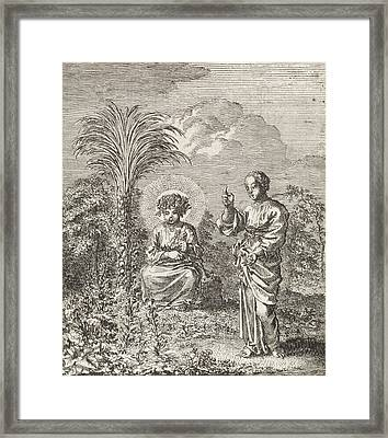 Christ And The Personified Soul Contemplate Nature Framed Print by Jan Luyken