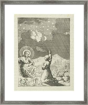 Christ And The Personified Soul Contemplate The Starry Sky Framed Print by Jan Luyken And Pieter Arentsz Ii