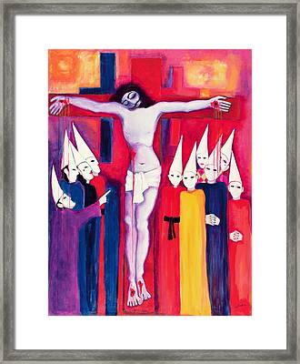 Christ And The Politicians, 2000 Acrylic On Canvas Framed Print by Laila Shawa
