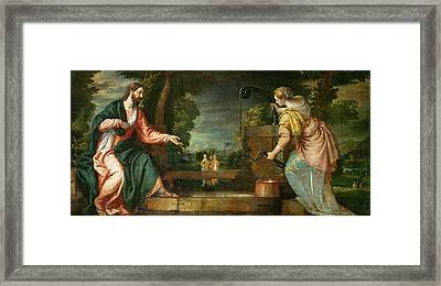 Christ And The Samaritan Woman At The Well Framed Print