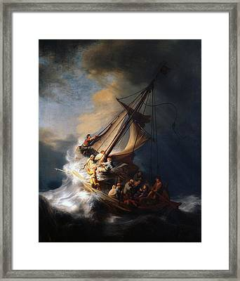 Christ And The Storm Framed Print by Rembrandt