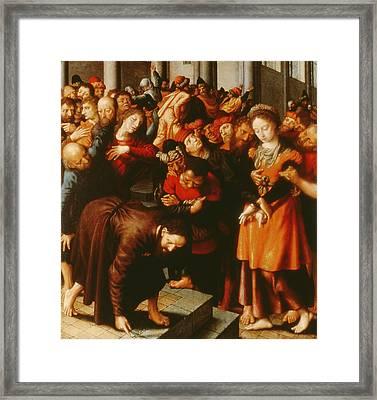 Christ And The Woman Taken In Adultery Oil On Panel Framed Print by Jan Sanders van Hemessen