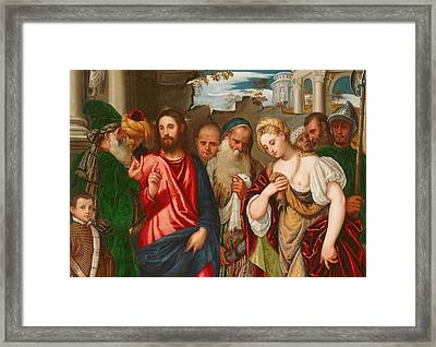 Christ And The Woman Taken In Adultery Framed Print