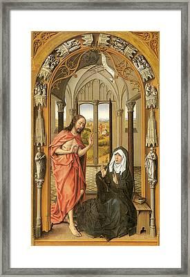 Christ Appearing To His Mother Framed Print by Rogier Van Der Weyden