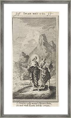 Christ Appears At The Sea Of Galilee, Jan Luyken Framed Print by Jan Luyken And Anonymous