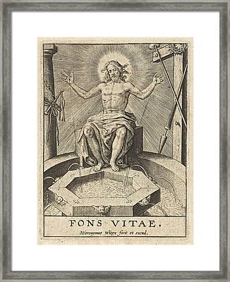 Christ As The Fountain Of Life Fons Vitae Framed Print by Hieronymus Wierix