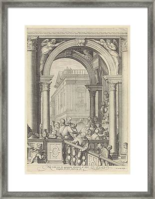 Christ At A Meal In The House Of Levi The Publican Plate 3 Framed Print by Jan Saenredam And Paolo Veronese And Frederik De Wit