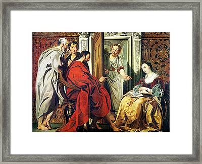 Christ At The House Of Martha And Mary Of Bethany Oil On Canvas Framed Print by Jacob Jordaens