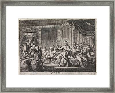 Christ At The Wedding At Cana, Israel, Jan Luyken Framed Print by Jan Luyken And Pieter Mortier