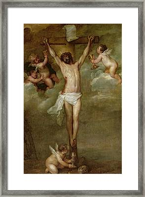 Christ Attended By Angels Holding Chalices Framed Print