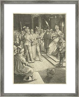 Christ Before Caiaphas, Nicolaes De Bruyn Framed Print
