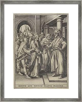 Christ Before Pilate, Hieronymus Wierix, Maerten De Vos Framed Print by Hieronymus Wierix And Maerten De Vos And Hans Van Luyck