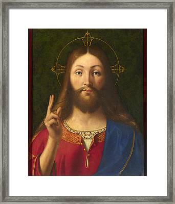 Christ Blessing Framed Print by Andrea Previtali
