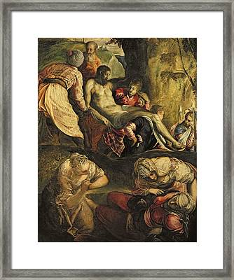 Christ Carried To The Tomb, Late 1550s Oil On Canvas Framed Print by Jacopo Robusti Tintoretto