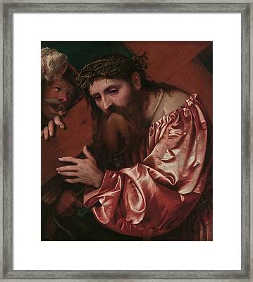 Christ Carrying The Cross Framed Print by Girolamo Romanino