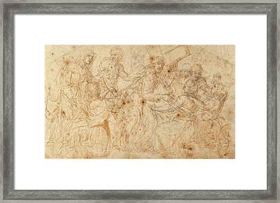 Christ Carrying The Cross Juan De Juanes Juan Maçip Framed Print by Litz Collection