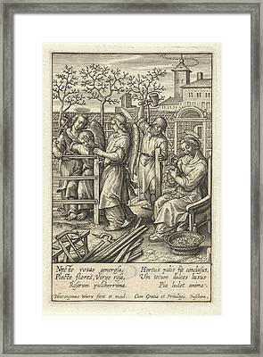 Christ Child Builds A Fence, Hieronymus Wierix Framed Print by Hieronymus Wierix