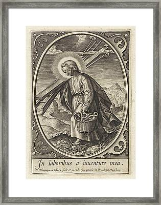 Christ Child Carries The Passion Equipment Framed Print by Hieronymus Wierix