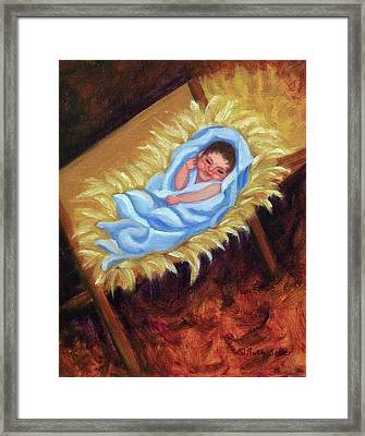 Christ Child In Manger Framed Print