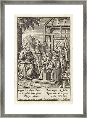 Christ Child Is Building A House, Hieronymus Wierix Framed Print by Hieronymus Wierix