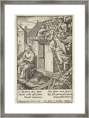 Christ Child Puts A Roof, Hieronymus Wierix Framed Print by Hieronymus Wierix
