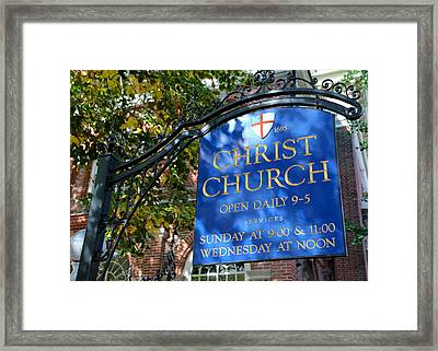 Christ Church Sign -- Philadelphia Framed Print by Stephen Stookey