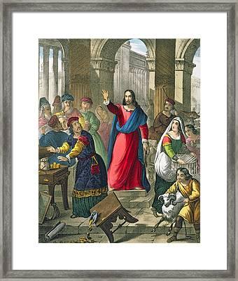Christ Cleanses The Temple Framed Print by Siegfried Detler Bendixen