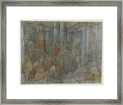 Christ Driving The Money Changers From The Temple Jacopo Framed Print by Litz Collection