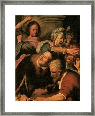 Christ Driving The Money-changers From The Temple Framed Print by Rembrandt