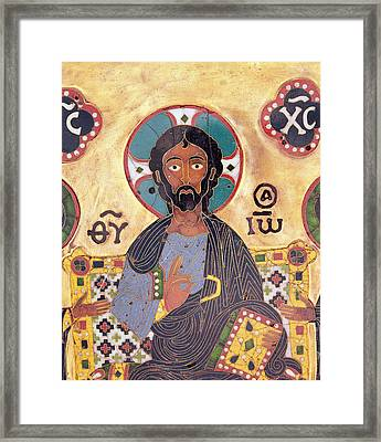 Christ Enthroned Cloisonne Enamel Framed Print by Russian School