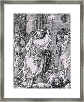 Christ Expelling The Moneychangers From The Temple Framed Print by Albrecht Durer or Duerer