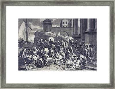 'christ Healeth A Multitude Framed Print by Mary Evans Picture Library